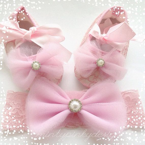Pink baby shoes, baby ballerina shoes and Headband, lace crib shoes,newborn shoes,Toddler shoes,baby girl flats, Baby Christmas shoes on Etsy, $20.50