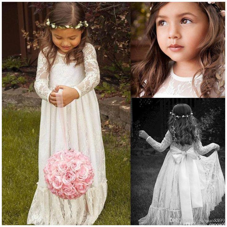 2015 Lace Long Sleeve White Girl Flower Dresses Bow A Line Floor