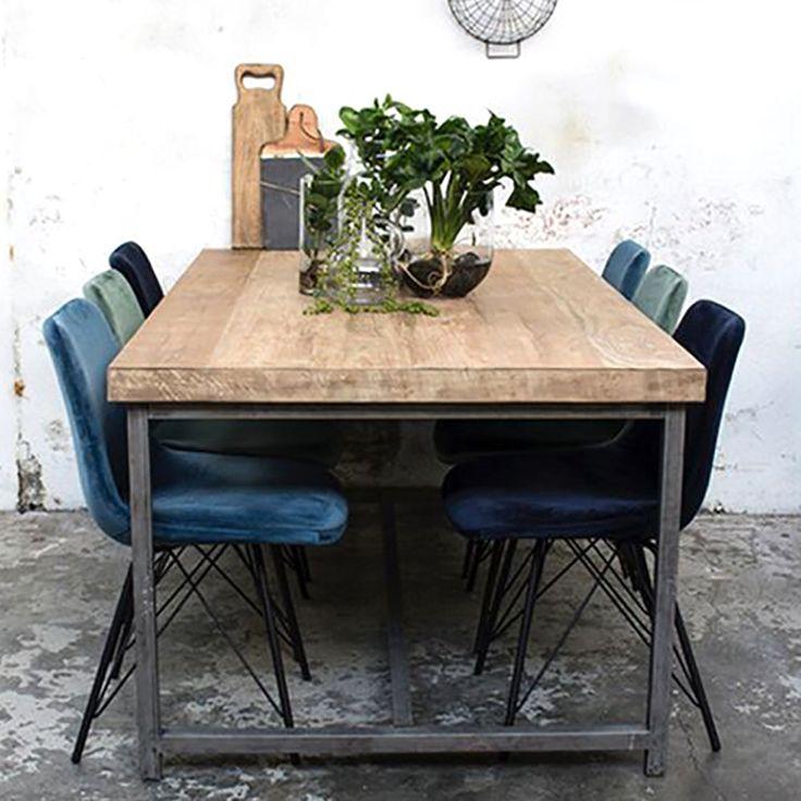 Eating desk MIKE 200 x 100 cm Eating desk Stable wooden Dinner desk Metallic …