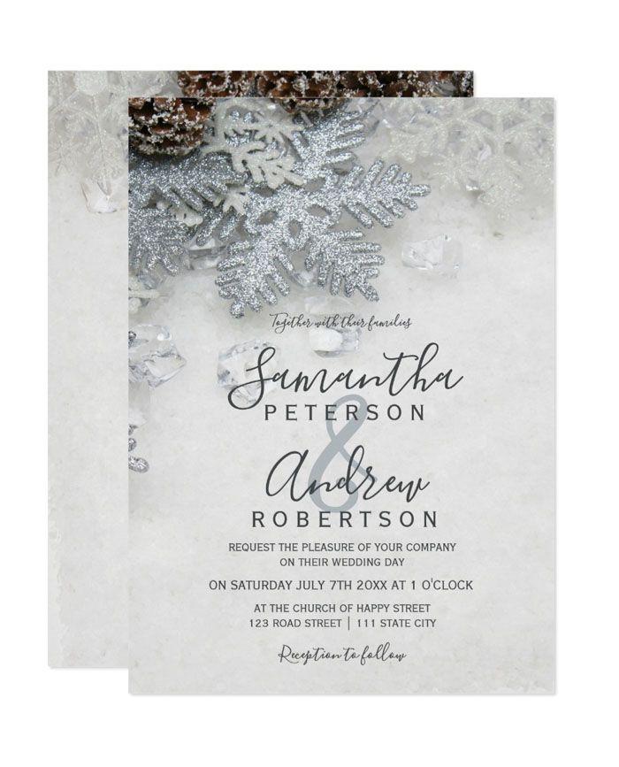 Winter Wonderland Silver Snow Typography Printable Wedding Invitation Typography Wedding Invitations Printable Wedding Invitations Wedding Invitations