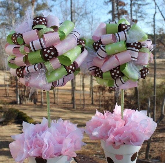 Topiario rulos rosa y verde