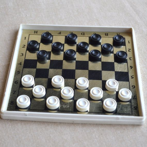Travel Checkers Game, Mini Checkers Set, Checkers Magnetic Board, Vintage Game, Old Board Game, Retro Style Game, Old Travel Game