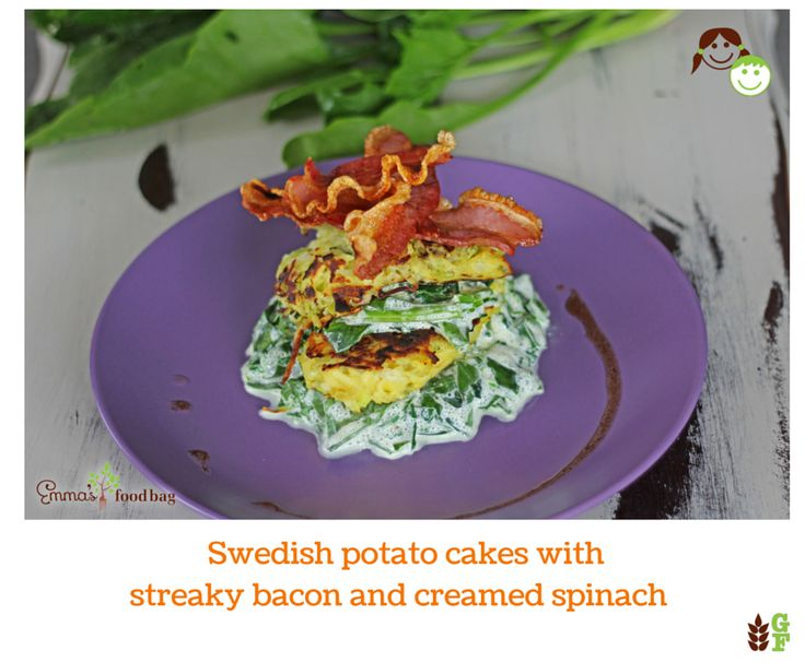 Swedish potato cakes with streaky bacon and creamed spinach
