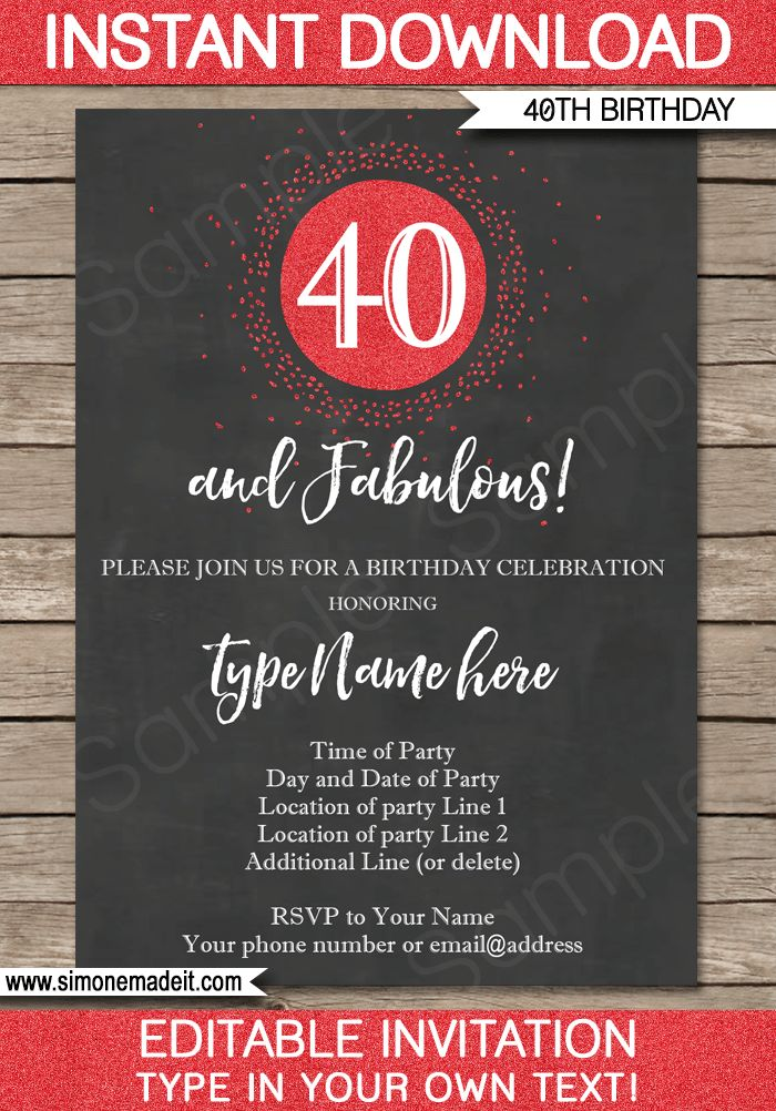 16 best milestone birthday party invitations printables 30th chalkboard 40th birthday invitations template stopboris Gallery
