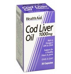 Cod Liver Oil 1000mg is a rich source of Omega 3 fatty acids, Vitamin A and D. It is beneficial for maintaining a healthy cardiovascular and nervous system; and supporting strong healthy bones and joints. HealthAid Cod Liver Oil is virtually free of all i