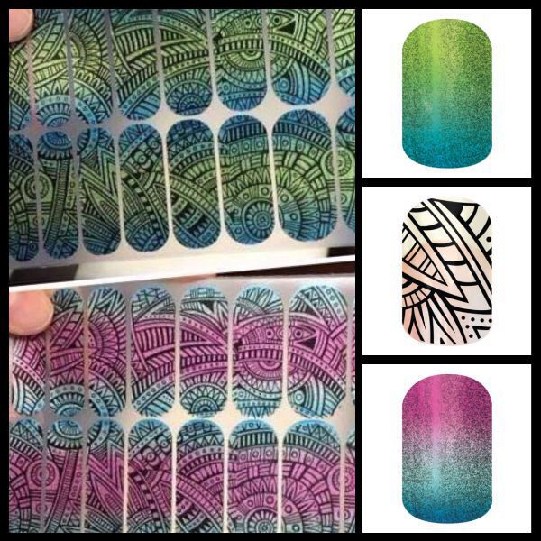 "Did you know you can ""layer"" your Jamberry nail wraps? Lost Ruins nail wrap with Atlantis Sparkle or Carnival Sparkle. http://jenniferverkamp.jamberrynails.net"