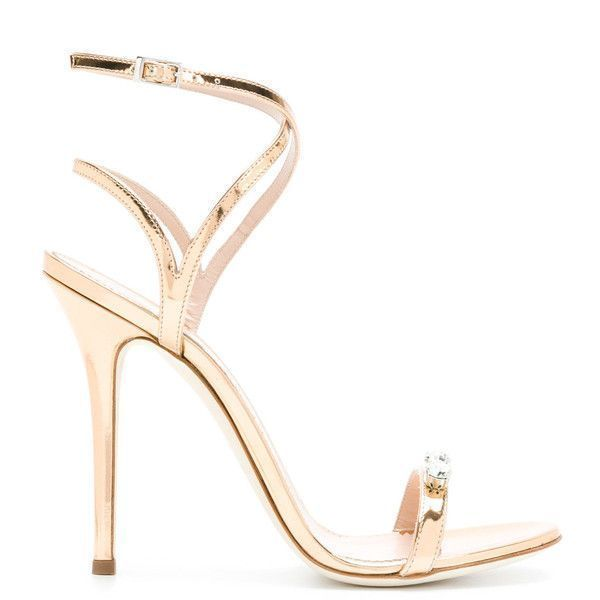 Giuseppe Zanotti Design Ellie sandals ($795) ❤ liked on Polyvore featuring shoes, sandals, metallic, leather sandals, giuseppe zanotti sandals, high heel stilettos, ankle tie sandals and embellished sandals #giuseppezanottiheelsstilettos #highheelsstilettos