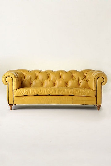 Buttery Yellow Leather Tufted Couch, Delicious! - Atelier Chesterfield from Anthropologie
