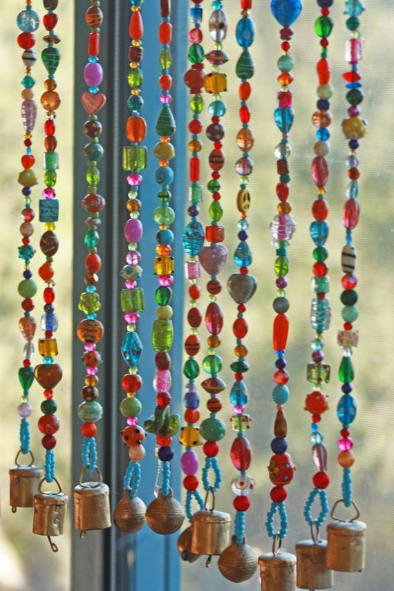 Beaded Curtain Glass Beaded Suncatcher Window Curtain Beaded Etsy Door Beads Hanging Door Beads Beaded Curtains