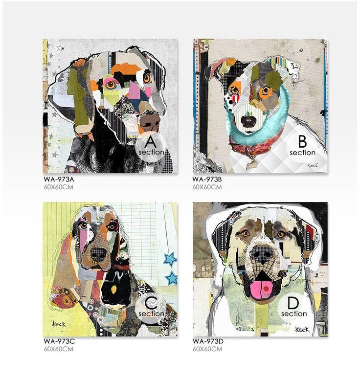 Современная животных домашних собак коллаж холсте цифровой струйной гостиной спальни дома стены украшены картинами оригинальный купить на AliExpress