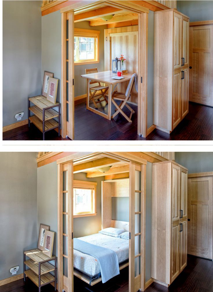 Murphy Bed / Fold-Up Table in a 400 sq ft park model home in Bellingham, WA. And check out those pocket doors! | Wildwood - Tiny House Swoon | Tiny Homes