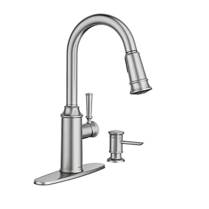 Moen 87731srs Glenshire Spot Resist Stainless One Handle High Arc Pulldown Kitchen Faucet Amazo Moen Kitchen Faucet Pulldown Kitchen Faucets Kitchen Faucet