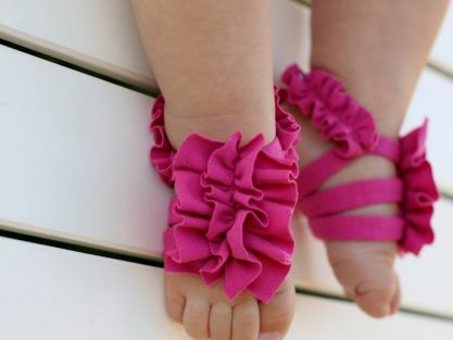 Love these barefoot baby sandals with the ruffles! Annie would have a ball trying to eat it.