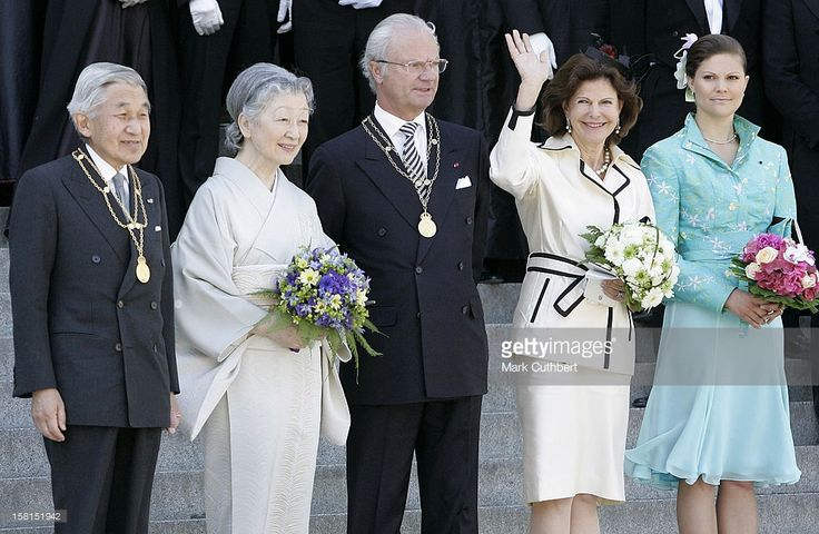 King Carl Gustaf, Queen Silvia & Crown Princess Victoria Of Sweden With Their Imperial Majesties Emperor Akihito & Empress Michiko Of Japan Attend The Tercentenary Birthday Celebrations For Carl Linnaeus In Sweden.Linnaeus Celebrations At Uppsala University. .