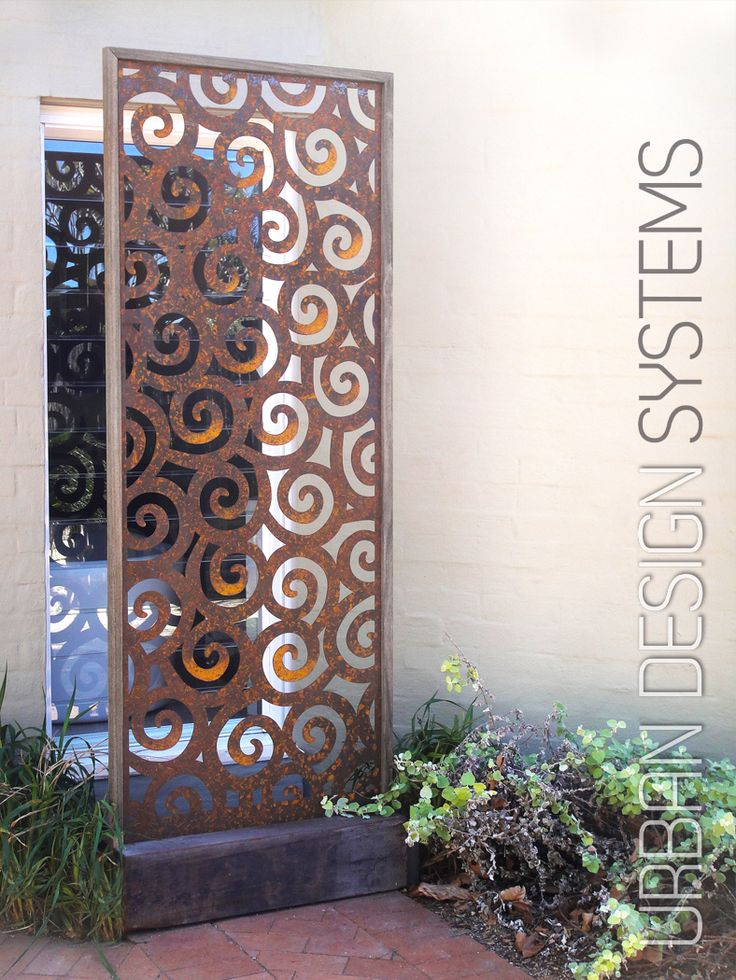 Laser cut privacy screening - Rough seas (weathered steel & select hardwood)