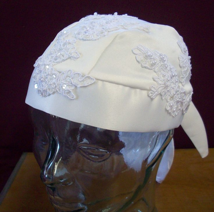 Biker Bride Wedding DooRag in Ivory with re-embroidered lace and detachable veil. custombrideofhotsprings.com