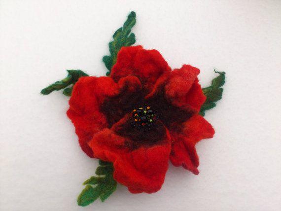 Brooch felt flower poppy red green by Ideagalery on Etsy, $25.00