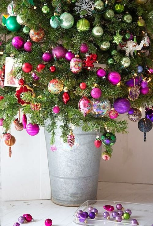 A color blocked tree makes a creative Christmas display in any corner of your home. Great for small spaces too!