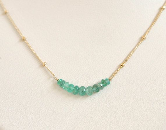 Genuine Emerald Necklace Gold Filled Necklace by dianafakhoury