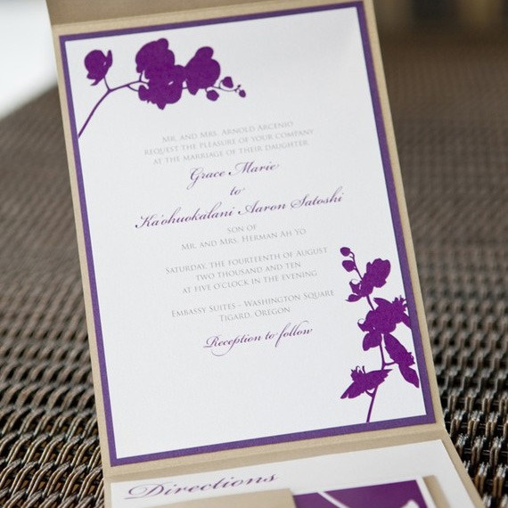 80 best beach wedding invitation images on pinterest beach pocketfold orchid wedding invitation stopboris Images