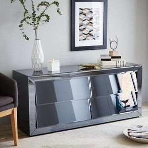 The Modern Mirrored Dresser Takes Deco Style Of Mirror And Updates It With A Gray Finish Handle Free Drawers Adds Subtle Shine Next To Beds As