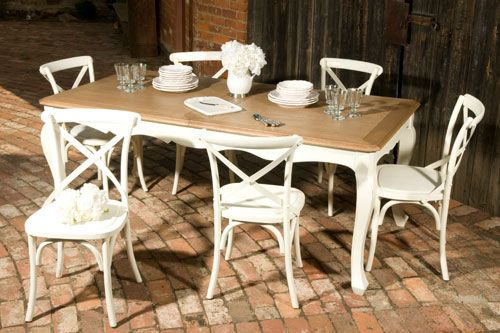 French Provincial dining table with a rustic French oak top with traditional French Ladder Backed Chairs