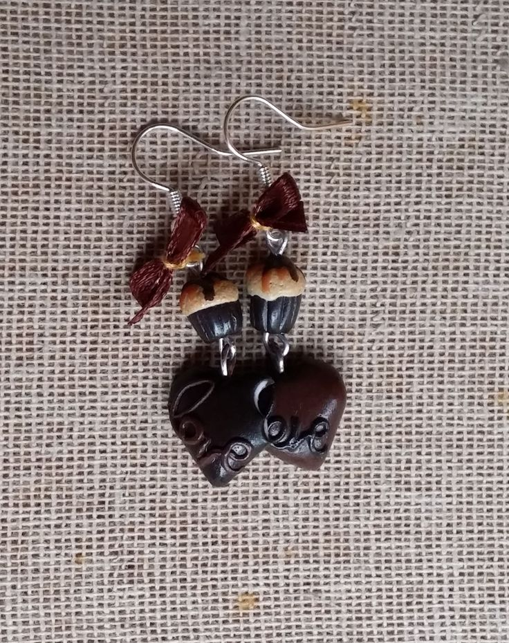 Chocolate heart shaped earrings -FIMO love - love