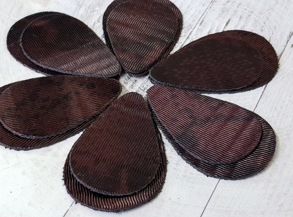 12pcs  Leather Teardrops Metallic Brown  Embossed  Genuine Leather