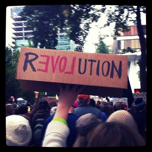 This is a picture from occupy wall st. In the words of the beatles, all you need is love.