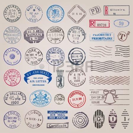 Vector conjunto de 39 sellos antiguos de pa ses de todo el mundo Foto de archivo