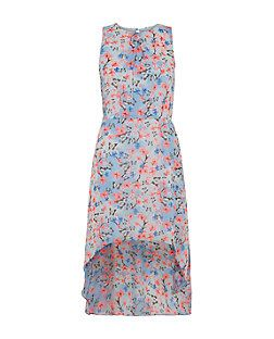 Teens Blue Floral Butterfly Print Dip Hem Sleeveless Dress  | New Look