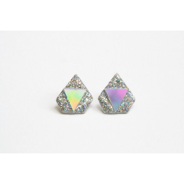 Silver DIAMOND ALIEN earrings with holographic glitter ($32) ❤ liked on Polyvore featuring jewelry, earrings, holiday jewelry, oxidized silver earrings, long earrings, charm earrings and silver charms
