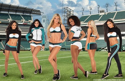 Those over the boob sweatshirts are just stupid! Why bother!   Philadelphia Eagles Cheerleaders Set To Debut New Vera Wang-Designed Uniforms Sunday | ThePostGame