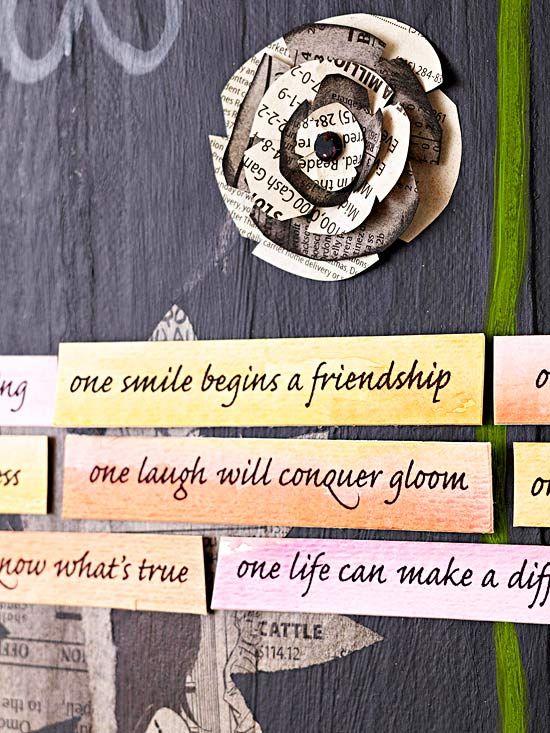 Flowery Sentiments: Canvas Ideas, Canvas Flower, Craft, Canvas Wall, Inspiration, Canvas Art, Newspaper Flowers, Flowery Sentiments