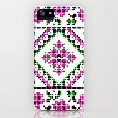 Cross Stitch Pattern Pink Green Black iPhone & iPod Case