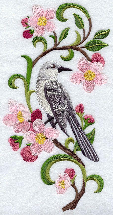 Embroidered Mockingbird & apple blossom quilt block,embroidery machine,bird