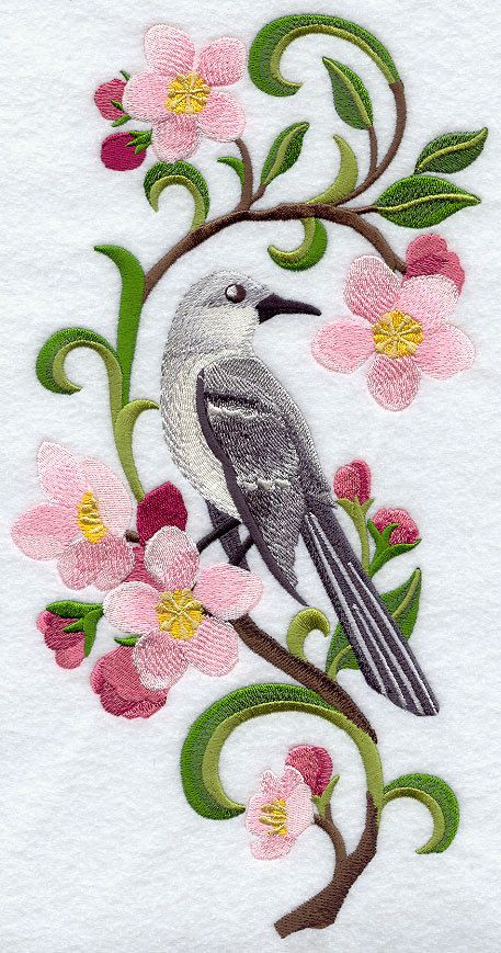 Embroidered Mockingbird & apple blossom quilt block,embroidery machine,bird