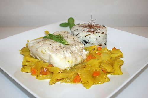 Zander filet on fennel in saffron sauce with wild rice mix  / Zanderfilet auf Fenchelgemüse in Safransauce an Wildreis-Mix