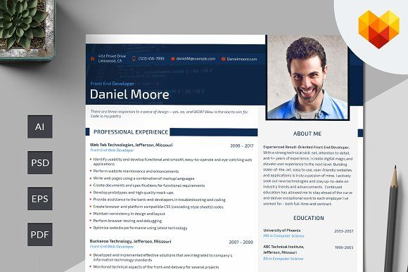 Front End Developer Resume PSD by MotoCMS on @creativemarket - front end developer resume