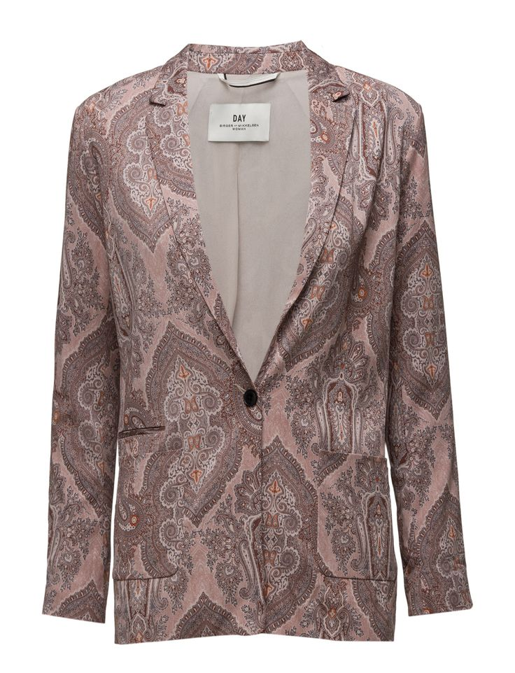 DAY - Day Motif Day Motif is a chic blazer in a paisley design. The jacket is tailored in a slim silhouette and has smooth lining to ensure it fits flawlessly. Slip yours on over an all-black outfit or style it with the matching Day Motif pants for a complete look.  Single button closure Notched lapel Stretch fabric Elegant and feminine Romantic