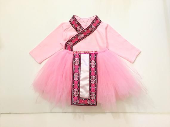 Hmong Tutu - 3-6 Months - 2 Piece- pink - embroidered - Vibrant