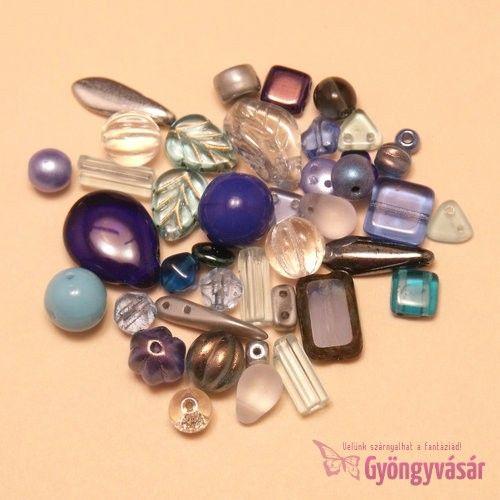Kék vegyes cseh gyöngy, 15 g • Gyöngyvásár.hu