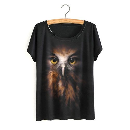 Women T Shirt Summer 3D Owl Animal Print T-shirt Lady Short Sleeve T Shirt Women Tees Tops Clothing