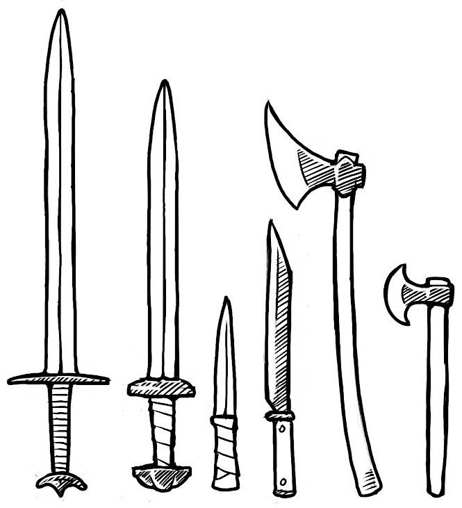 Viking weapons (realistic) swords, knife, Seax, battle axe, hand axe.