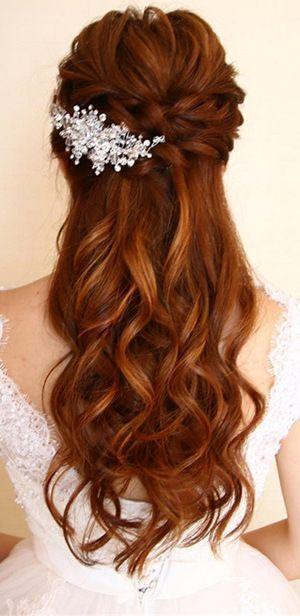 hochzeitsfrisur halboffen | braut frisur halboffen || bride hairstyle half up half down  #hochzeitsfrisur #brautfrisur #braut #bridehairstyle