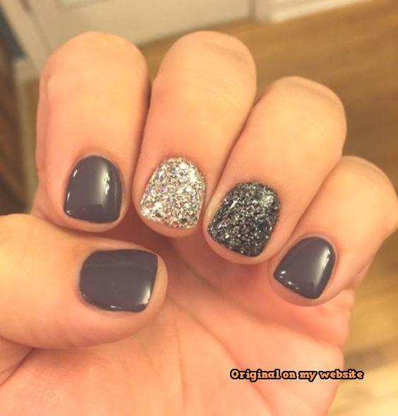 Nail Art Summer 2019 – Nagelkunst mit grauem Gel-Glitzer-Akzent, Nagelkunst im Sommer aus Acryl #nailartsommer –   #