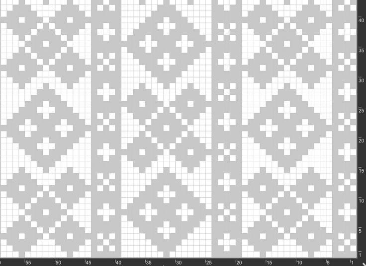 Mønster av stolpetrøye frå Nordfjord. Undergruppe tre, der andreaskrossane har gått over til kolleroser, ingen diagonalverknad i mønsteret. Stolpane er fem maskar breie.