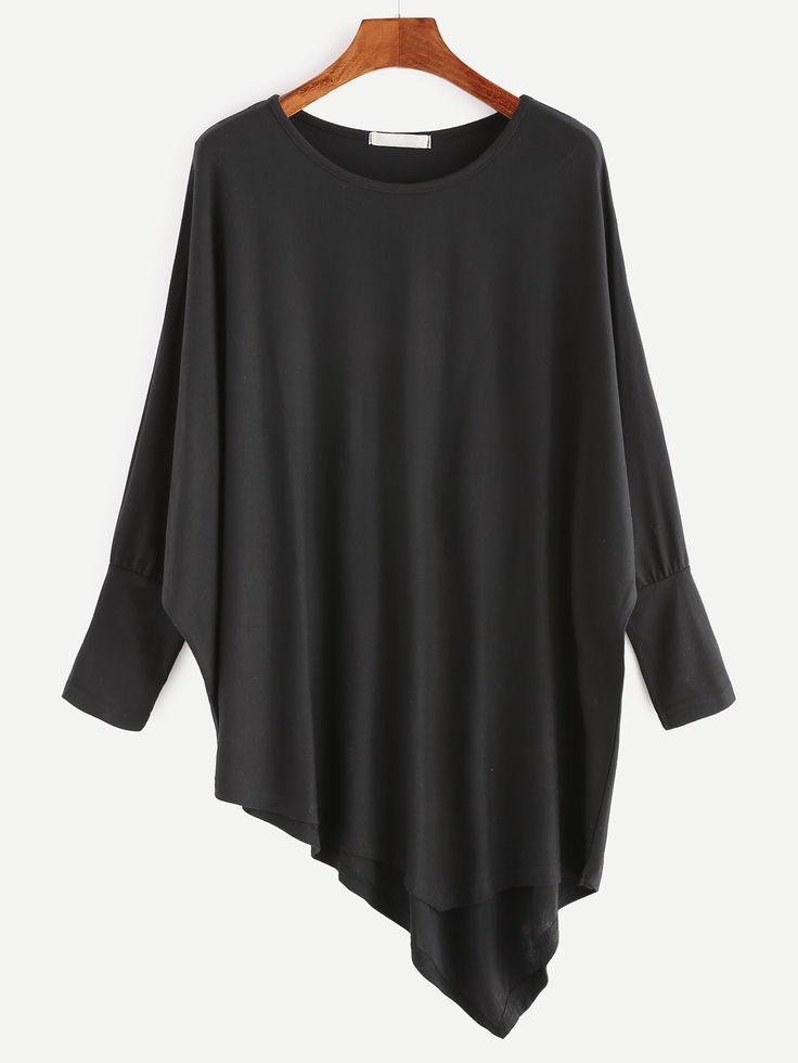13$  Buy now - http://di5na.justgood.pw/go.php?t=15728 - Black Batwing Sleeve Asymmetric Hem T-shirt