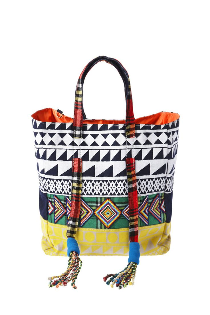 HEADING NORTH - limited edition patchwork shopper incorporating different techniques including print, fabric & beadwork. handmade in kenya, Afria by tribal women as part of The United Nations ethical fashion program.