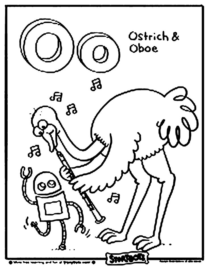 find this pin and more on alphabet storybots can you color this ostrich and oboe for the